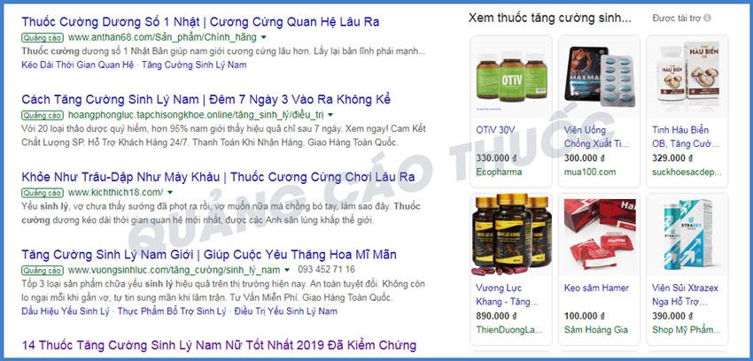 Hình ảnh quảng cáo thuốc tăng cường sinh lý trên mạng